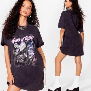 Last 1! Guns N Roses Graphic Mini Tee Shirt Dress